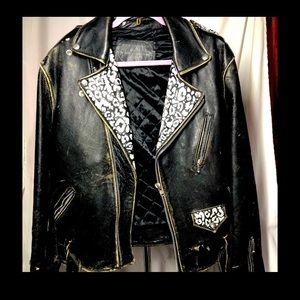 Men's M vintage leather motorcycle biker jacket